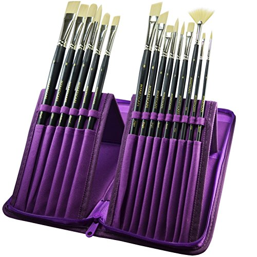 Paint Brush Set - 15 Synthetic Bristle Brushes - The Ultimate Paintbrushes for Acrylic and Oil Painting - Artists' Quality Art Supplies by MyArtscapeTM | 1 Year Warranty (Royal Purple Holder)