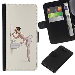 Protector de cuero de la PU de la cubierta del estilo de la carpeta del tirón BY RAYDREAMMM - Samsung ALPHA G850 - El mal de la bailarina Nightmare - Goth