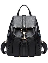 BOYATU Real Leather Backpacks Purse for Women Ladies Fashion Travel Shoulder Bag (Black)