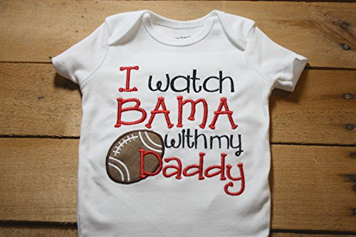Bama Baby Bodysuit Roll Tide Alabama I Watch With my Daddy Football Elephant Crimson Home Outfit Sorry Spitting Thought I saw a Tiger Active