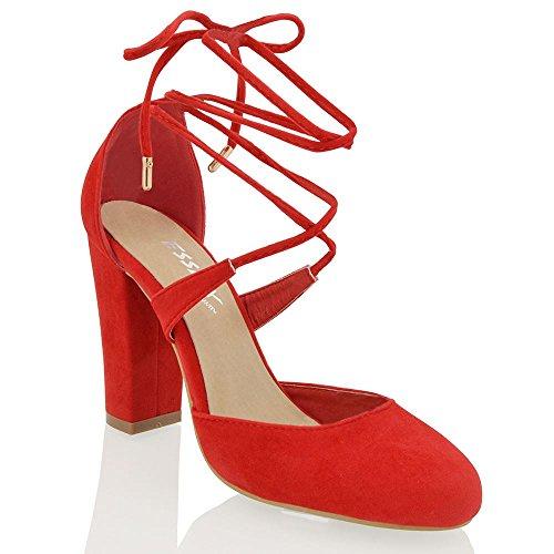 Essex Glam Mujeres Lace Up Tie Wrap Block Heel Strappy Bombas Sintéticas Zapatos De Corte Red Faux Suede