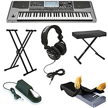Korg PA900 61-Key Semi-Weighted Professional Arranger Keyboard with Knox Keyboard Bench, Knox Keyboard Stand, Sustain Pedal, Full-Size Headphones and Dust Cover