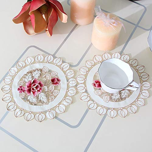 VT BigHome Hot Round Elegant Polyester Floral Doily Embroidery Placemat Tablecloth Embroidered Napkin Tissue Box Covers