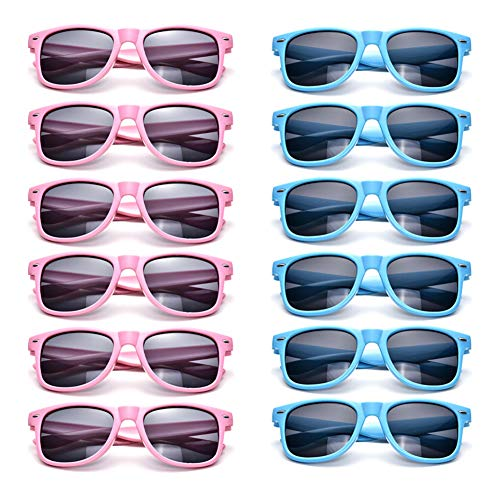 12 Pack Neon Sunglasses Kids Birthday Party Favors Glasses Retro Unisex Eyewear (Kids Pink+Blue) -