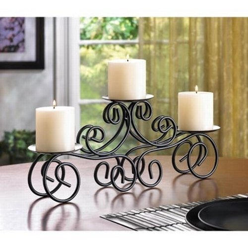 Three Arms Candle Holder with Metal Table Top Candle Stand | Designer Votive Candle Holder Stand for Wedding Party Centerpiece Table Decorative Tea Light Candle Holders