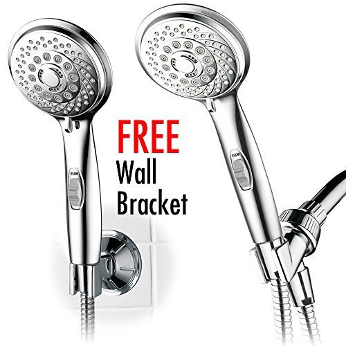Holder Adjustable Handshower - HotelSpa 7-setting AquaCare Series Spiral Handheld Shower Head Luxury Convenience Package with Pause Switch, Extra-long Hose & Bonus Low-Reach Bracket