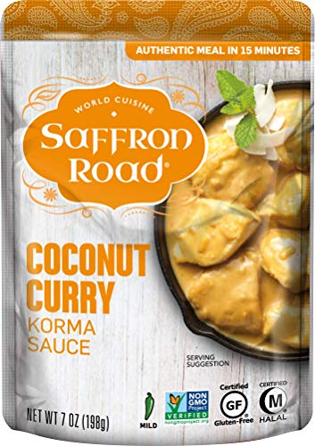Saffron Road Simmer Sauce, Non-GMO, Gluten-Free, Halal, Kosher, Coconut Curry, 7 Ounce (Pack of 8)