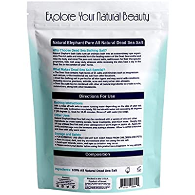 Natural Elephant Dead Sea Salt 100% Natural and Pure 1 lb, 2 lb, 5 lb, 10 lb Bag Fine Grain for Psoriasis Eczema Acne and other Dermatological Needs