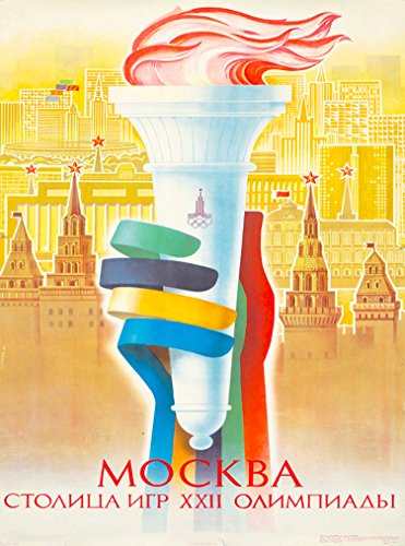 A SLICE IN TIME 1980 Summer Olympic Games Mockba Moscow Soviet Union Russia Vintage Olympics Travel advertisement Art Poster Print. Measures 10 x 13.5 inches