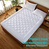 "Mattress Pad Cover with 18"" Deep Pocket 300TC Cotton Down Mattress Topper By HYPNOS Mattress Topper Hypoallergenic Quilted Stretch-to-Fit,Queen"