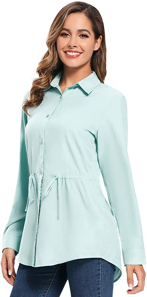 Women UPF 50 Long Sleeve Convert to Short Hiking Fishing Safari Breathable Fast Dry Clothing UV Sun Protection Shirts