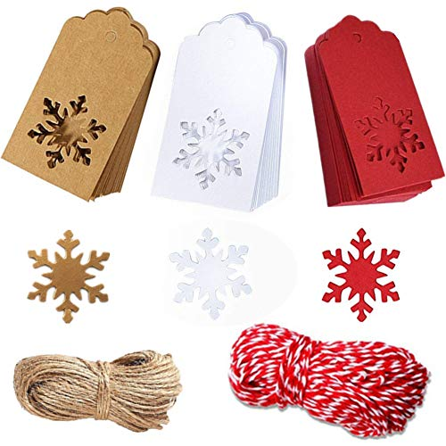 Paper Tags Kraft Christmas Tags Hang Labels Christmas Tree Snowflake Design for Christmas Gift Favor,DIY Arts and Crafts Wedding Supply with 150 Pieces 30 Meters Twine (Tag Gift Snow)