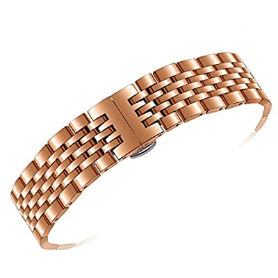 20mm Adjustable Metal Watch Band in Rose Gold Stainless Steel Solid Links Both Curved and Straight Ends