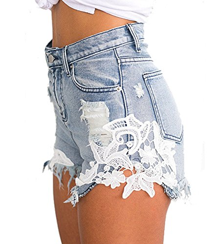 DELEY Femmes Dentelle Au Crochet Glands Taille Haute Pantalon Court Vintage Sexy Short Denim Jeans Hot Pants Plage t Bleu