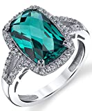 Colombian Green Simulated Emerald 4 Carat Cushion-Cut Cubic Zirconia Sterling Silver Engagement Ring
