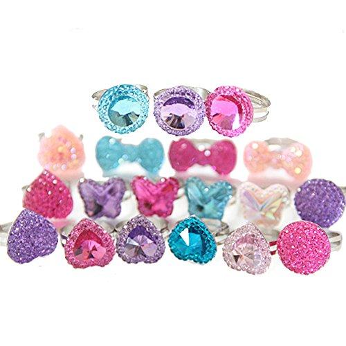 able Kids Rings Imitation Gem Glitter Rings Jewel Rings for Kids Girls Birthday Gift Party Favors ()