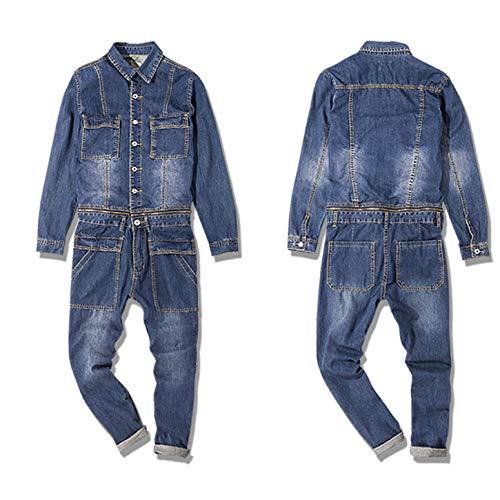 - Men Denim Jumpsuit Japanese Youth Retro Lapel Down Long Sleeve Tooling Detachable Casual Loose Jacket Korean Version Bib Pants Tide Trend Street