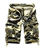 Zago Mens Fine Cotton Shorts Relaxed-Fit Outwear Cargo Twill Pant Khaki 37