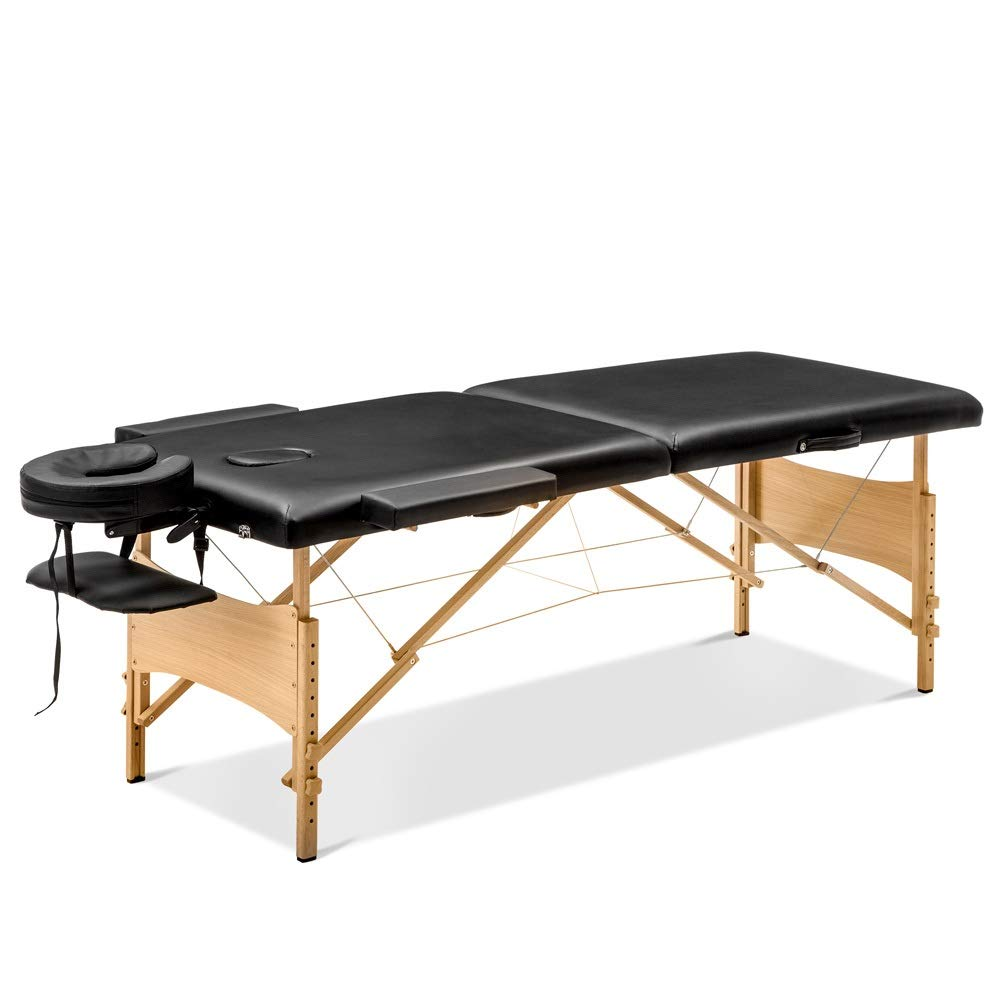 Massage Table Massage Bed SPA Bed 2 Fold Massage Table Heigh Adjustable 84'' Long PU Portable Salon Bed with Carry Case by Cozyhome Bestone