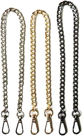 l Lot de 10 fines Chaînes couleur argent noirci de 40 cm