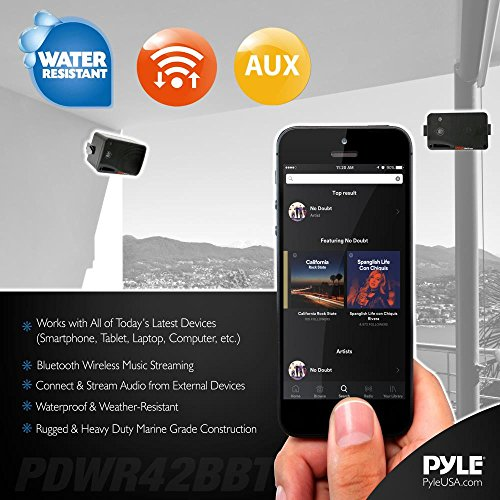 Outdoor Waterproof Wireless Bluetooth Speaker - 3.5 Inch Pair 3-way Active Passive Weatherproof Wall, Ceiling Mount Dual Speakers System w/Heavy Duty Grill, Patio, Indoor Use - Pyle PDWR42BBT (Black) by Pyle (Image #4)