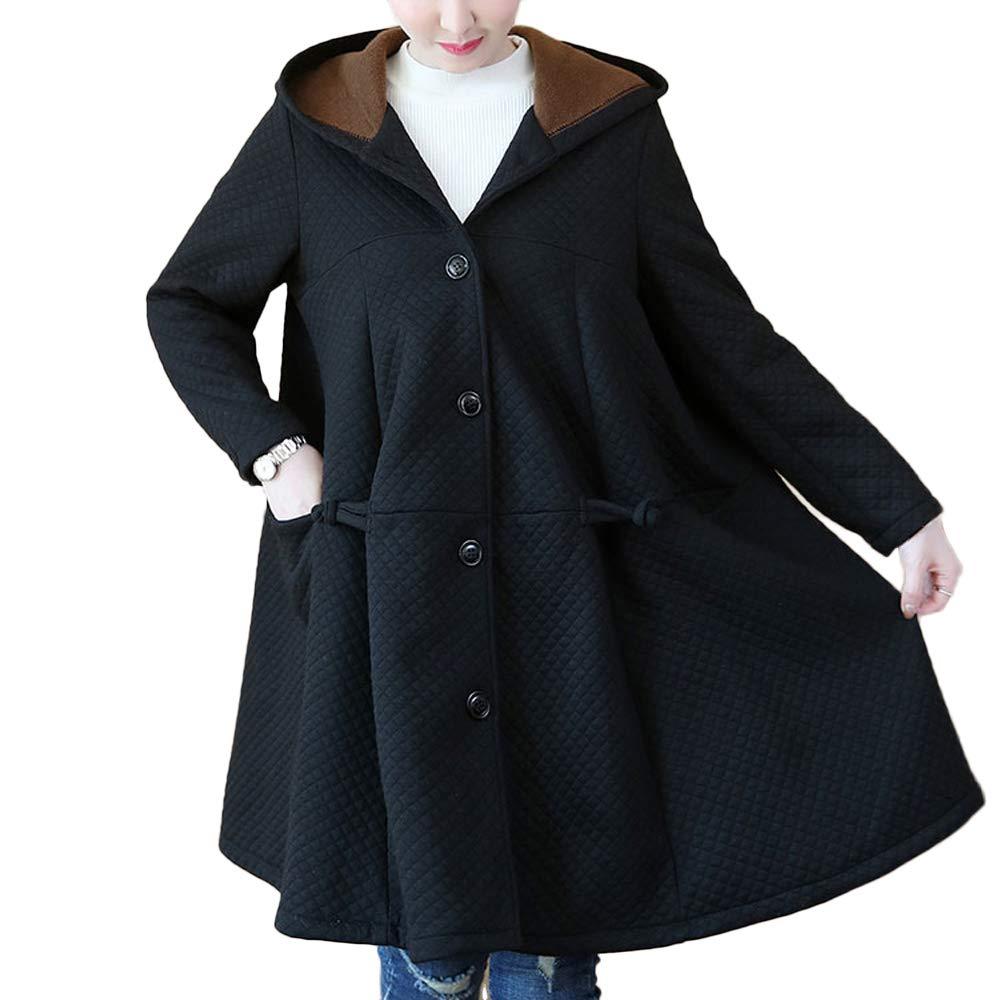 Volwassan Plus Size Women's Woolen Long Sleeve Pea Coat Loose Cloak Winter Trench Jacket