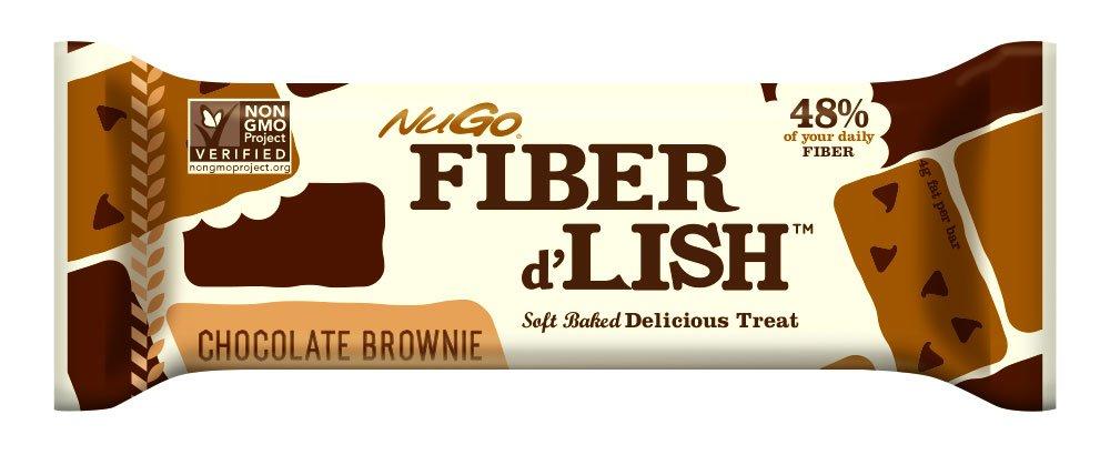 NuGO Fiber d'Lish Nutritional Chocolate Brownie Bar, 16 Count