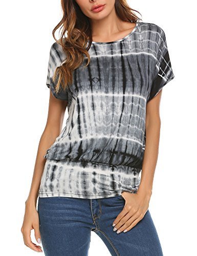 Concep Women's Summer Blouse Short Batwing Sleeve Pleated Tunic Top Tie Dye Shirt (Black S) Slim Spandex Tunic