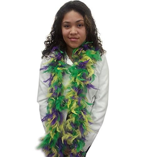 [Feather Boa With Gold Tinsel - Mardi Gras Purple Green and Gold Boa by Funny Party Hats] (Hat Mardi Gras Costumes Accessories)