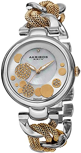 Akribos XXIV Women's AK643TTG Lady Diamond Silver-Tone and Gold-Tone Dial Mesh and Chain Link Bracelet Watch