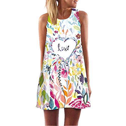 Women Leaves Print Casual Chiffon Dress Sleeveless O Neck Cute Summer 269 XXL