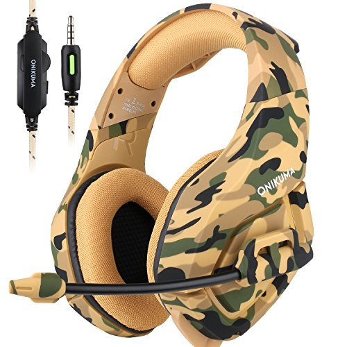 ONIKUMA Stereo Gaming Headset for PS4 Xbox One, Noise Cancelling Mic Over Ears Gaming Headphones with Microphone for Nintendo Switch PlayStation 4 Laptop Smartphones and PC (Camouflage)