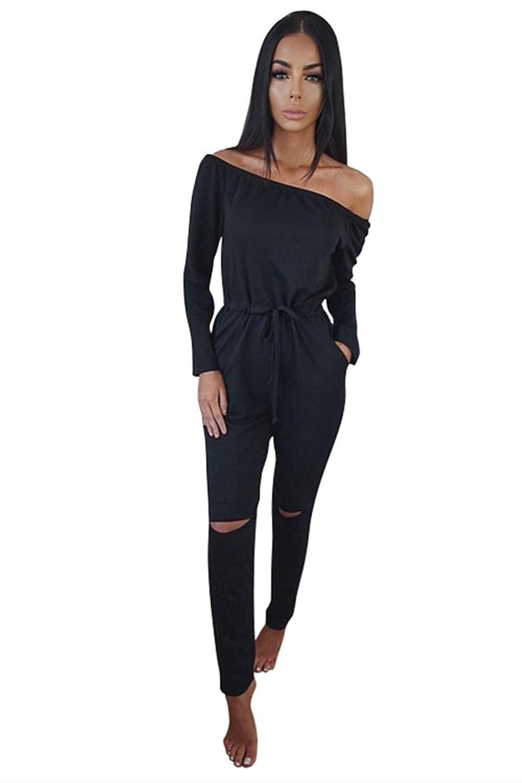 Miss Floral® Womens Off Shoulder Long Sleeve Jumpsuit 5 Colour Size 6 - 20