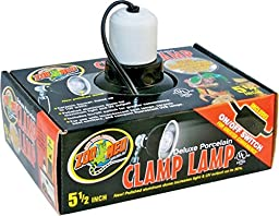 Zoo Med Deluxe Porcelain Clamp Lamp with 5.5-Inch Dome, Black