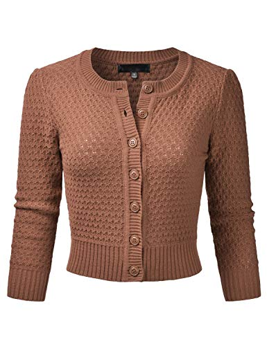 EIMIN Women's Crewneck Button Down 3/4 Sleeve Knit Crop Cardigan Sweater Camel - Camel Cardigan