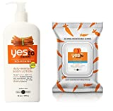 Yes To Carrots Moisturizing Body Lotion, 12 Fl Oz + Fragrance-Free Gentle Cleansing Wipes, 25 Ct + FREE Luxury Luffa Loofah Bath Sponge On A Rope, Color May Vary