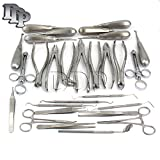 DDP DENTAL EXTRACTON STUDENT SET ELEVATORS FORCEPS SCALERS TWEEZERS PROBES IMPLANT 26 PIECES INSTRUMENTS