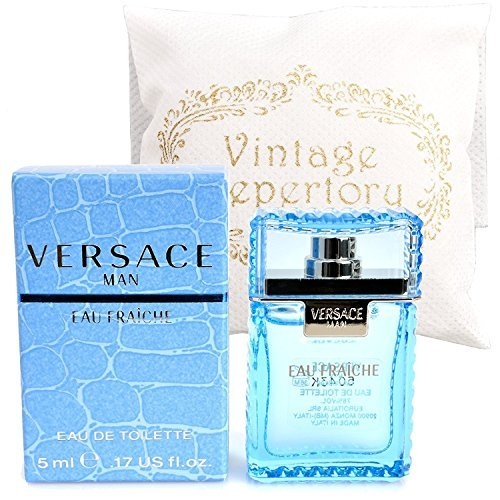 Original Versace Man Eau Fraiche Eau De Toiltte EDT 5ml 0.17oz Cologne for Men Homme Perfume Miniature Mini Parfum Collectible Bottle New In Box 0.17 Ounce Miniature Collectible