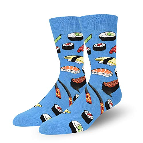Novelty Socks Colorful Funny Mens Crew Socks Outer Space Casual Cotton Socks - Sushi ()