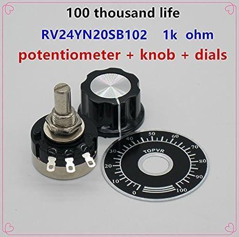 2 St/ück A03 und W/ählscheiben Taiss//2 St/ücke RV24YN20S Single-Turn-Potentiometer mit Kohleschicht-Drehkegel zur Drehzahlregulierung von Wechselrichtern B101 100 Motordrehzahlregelung