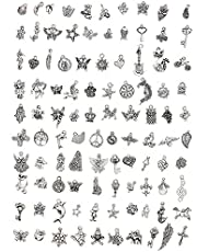JIEPING Wholesale 100 Pieces Tibetan Silver Plated Mixed Charms Pendants DIY for Jewelry Making and Crafting