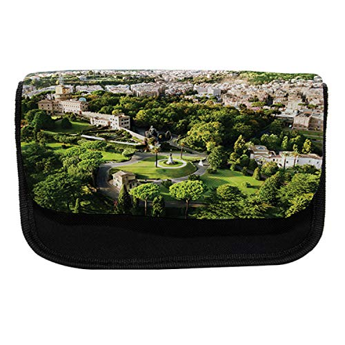 Ambesonne European Pencil Case, Famous Vatican Gardens, Fabric Pen Pencil Bag with Double Zipper, 8.5