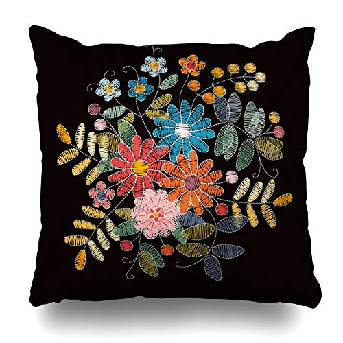 - Ahawoso Throw Pillow Cover Nature Mexican Bouquet Flowers Leaves Berries Floral Ornate Russian Abstract Berry Design Embroidered Home Decor Pillow Case Square Size 16 x 16 Inches Zippered Pillowcase