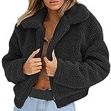 Franterd Women Coat Autumn Fuzzy Jacket Warm Artificial Wool Cardigan Open Front Full Zipper Overcoat Winter Parka Outerwear