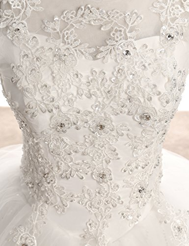 Dress Women's Gown WBD10 C Scoop Lace Neck Gown LMBRIDAL Wedding Bridal Ball White 7Ywz6Uqdq