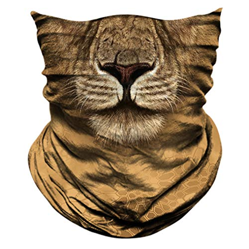2 Pack - 3D Animal Neck Gaiter Scarf Bandana Face Mask Seamless UV Protection for Motorcycle Cycling Riding Running Fishing Hiking Conoeing Lion 15]()