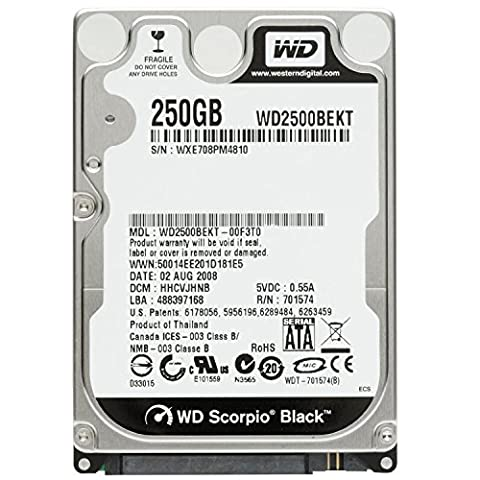 Western Digital (WD) Black 250 GB (250gb) Mobile Hard Drive: 2.5 Inch, 7200 RPM, SATA II, 16 MB Cache-1 Year Warranty for Laptop, Mac, PC, and (Wd Hard Drive 250gb)