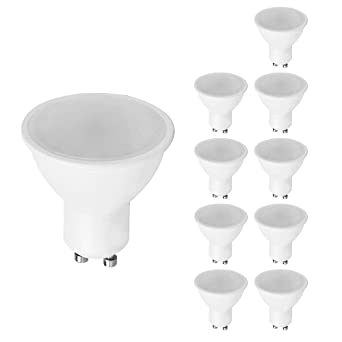 MiniSun - Pack de 10 bombillas LED GU10 de muy bajo consumo (5w).