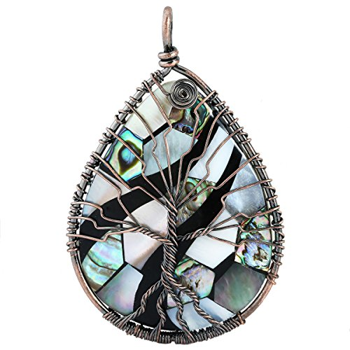 SUNYIK Mixed of White Abalone Shell Tree of Life Pendant Necklace,Teardrop Wire Wrapped Jewelry