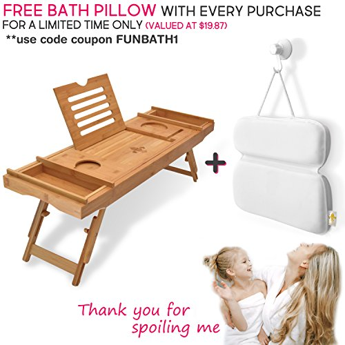 Bathtub Caddy & Laptop Bed Desk –Patent Pending 2 In 1 Innovative Design Transforms Our 100% Extra Large Bamboo Bathtub Tray To Bed Tray (10